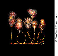 Love sparkler firework light alphabet with fireworks...