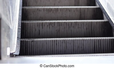 Escalator Stairs Close Up - Escalator steps details, running...