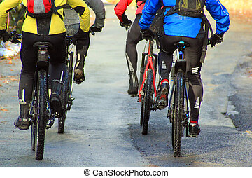 Speed and fitness - Four cyclists on mountain bikes wearing...