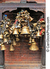 Metal sacrificial bells in Nepal - Metal sacrificial bells...