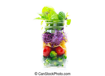Jar salad - fresh colorful salad in the jar