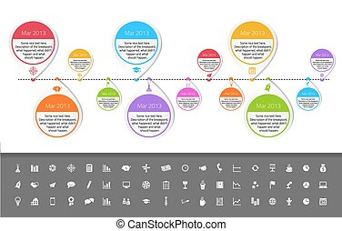 Timeline template in sticker style with set of icons. White...