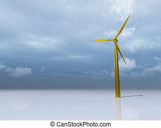 windpower - golden windmill at the ocean  - 3d illustration