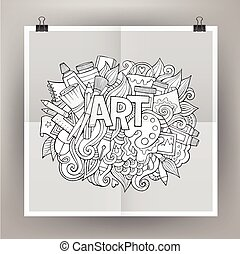 Art hand lettering and doodles elements Vector illustration