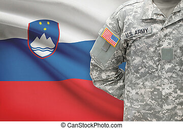 American soldier with flag on background - Slovenia