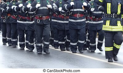 Firemen Unit - Firemen company with the equipment and gear...