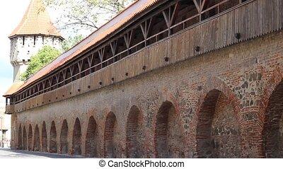 Fortress Wall - Pan shot of medieval defense wall of a...