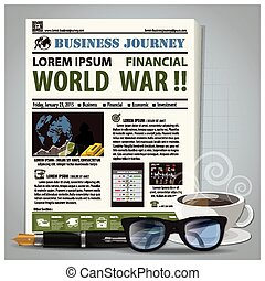 Business Journey Newspaper Lay Out With Pen, Glasses, Coffee...