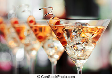 Cocktails Collection - Martini - Several glasses of famous...