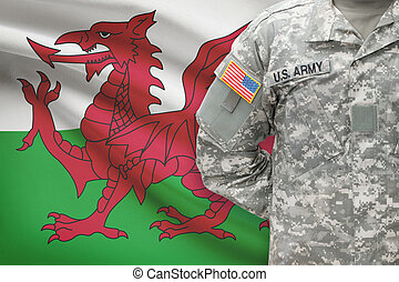 American soldier with flag on background - Wales