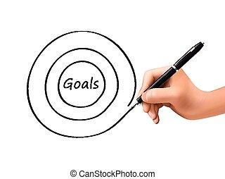 goals word written by 3d hand