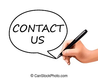 contact us words written by 3d hand over white