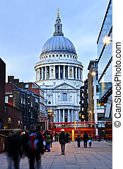 St Pauls Cathedral London at dusk - View of St Pauls...