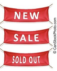 new, sale and sold out banner isolated over white background