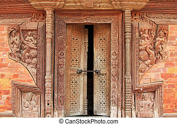 Hand crafted wooden doorframe Nepal - Intricate and...
