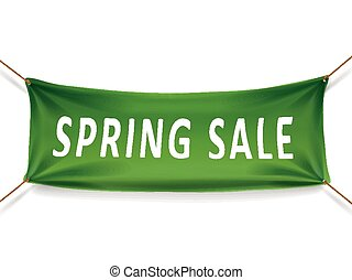 spring sale banner isolated over white background