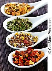seco, variado, salud, cucharas, té, herbario