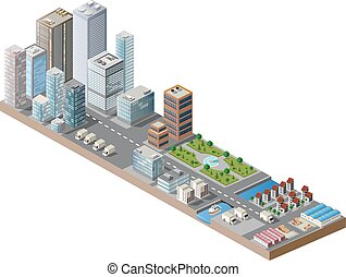 Print City center - Vector isometric city center on the map...