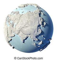 Globe 3D - Winter earth isolated on white background 3d...