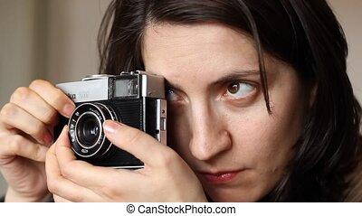 Girl Photo Shooting - Girl is setting the exposure and...