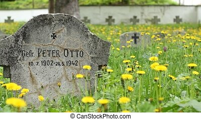 German Soldier Tombstone - Pan shot of German soldiers...