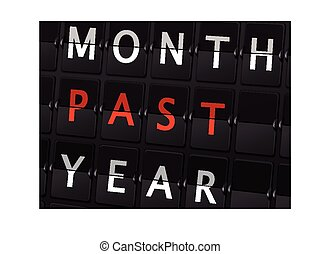month past year words on airport board background