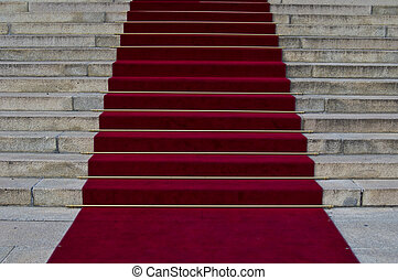 Red carpet - beautiful red carpet leading up old steps