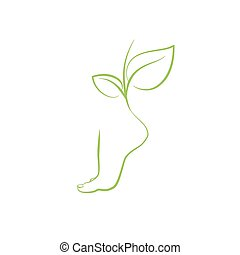 Healthy feet vector spa symbol leg silhouette and green...