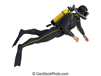 Diver - 3D digital render of a male diver isolated on white...