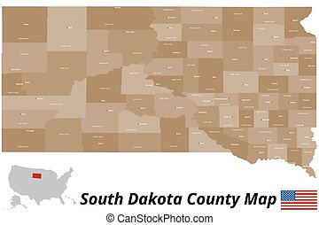 South Dakota County Map - A large and detailed map of the...