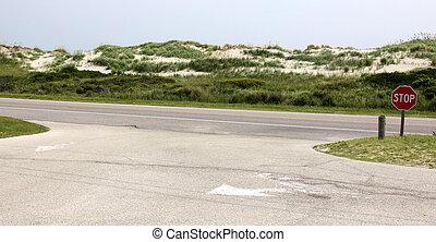 parada, playa, señal
