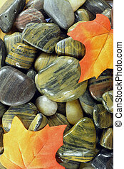 Fall motive with River stones.
