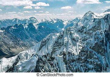 Mountain peaks in Pamir - Scenic mountain wall in Pamir...