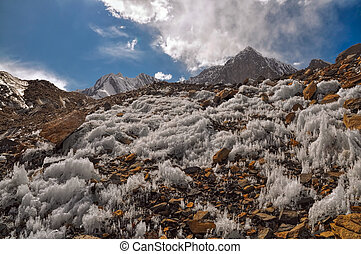 Ice crystals in Tajikistan - Scenic ice crystals in Pamir...