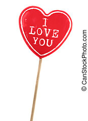 heart shaped lolly pop on white background - heart shaped...