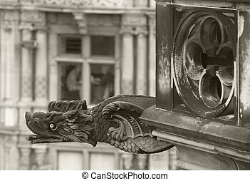 Antique dragon shaped gargoyle in Edinburgh, Scotland. UK....