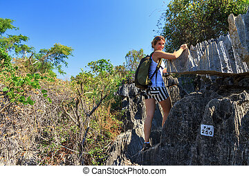 Tsingy hike - Beautiful tourist on an excursion in the...