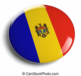 Moldova flag design round badge.