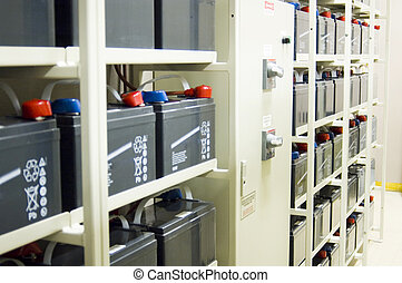 Uninterruptible Power Supply UPS Batteries - A bank of...