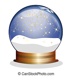 snowglobe with golden stars
