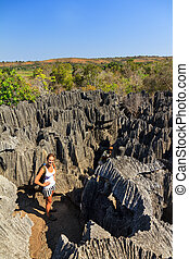 Tsingy tourism - Beautiful tourist on an excursion in the...
