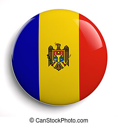 Moldova flag icon. Clipping path included.