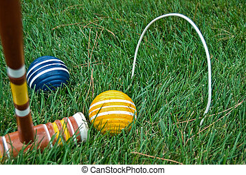 Croquet Competition - Game of croquet in the backyard.