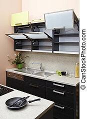 Empty moder kitchen - Modern interior and details in...