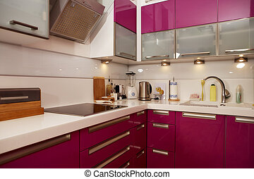 Modern pink kitchen - Modern interior and details in...