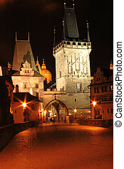 Prague in the night - old buildings in Prague in the night -...