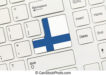 White conceptual keyboard - Finland (key with flag) -...