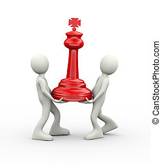 3d people carrying red big chess piece