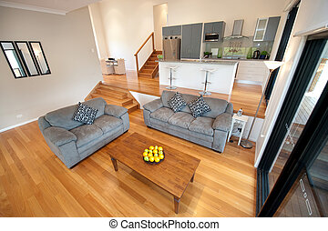 Modern home decor - Wooden polished floor compliments this...