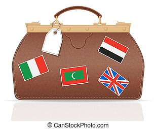 leather valise travel with constipation vector illustration...
